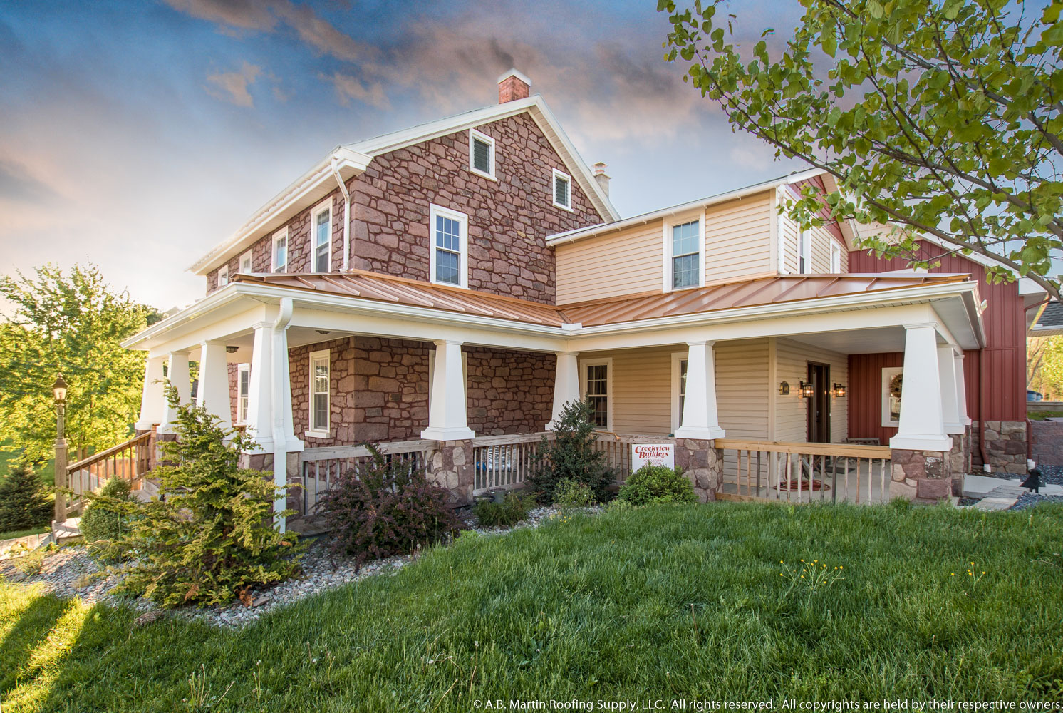 Building Showcase Farmhouse With Copper Penny Porch Roof