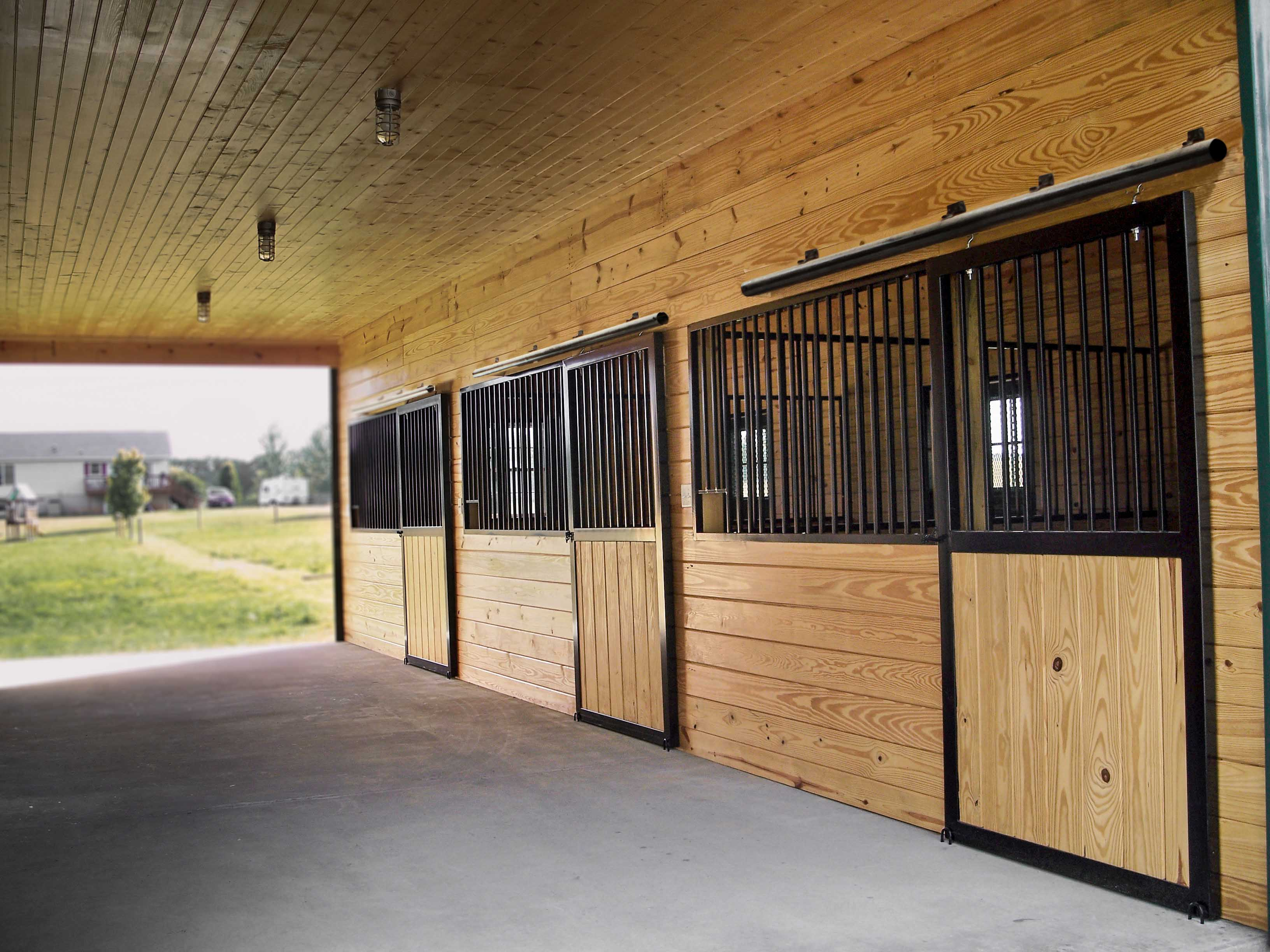 Horse stalls horse barn building materials from a b martin for Horse stall door plans