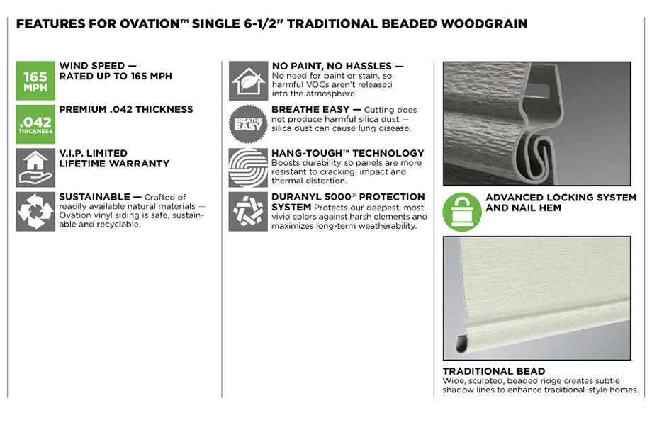 Mastic Ovation Vinyl Siding | Building Materials from A B  Martin