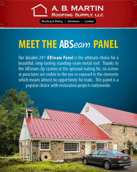 Abseam Panel Is The Ultimate Choice For A Beautiful Long Lasting Standing Seam Metal Roof Thanks To Clip System Or Optional Nailing Fin