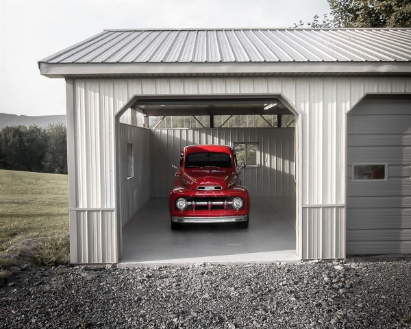 custom garage with red truck