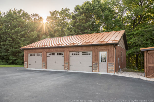 Custom Garage with Copper Penny Metal Roof