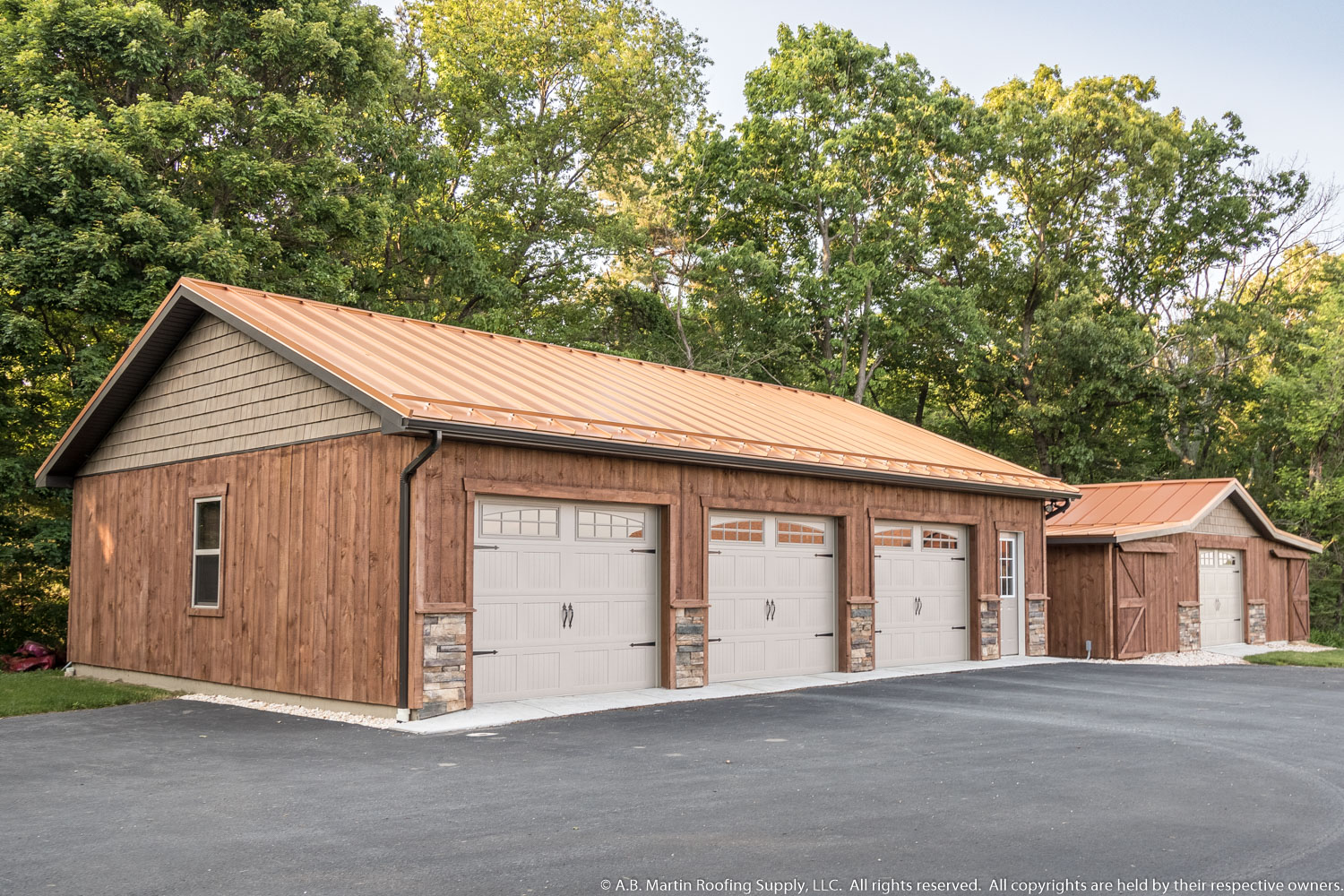 Building showcase garage with copper penny metal roof a for 3 car garage metal building