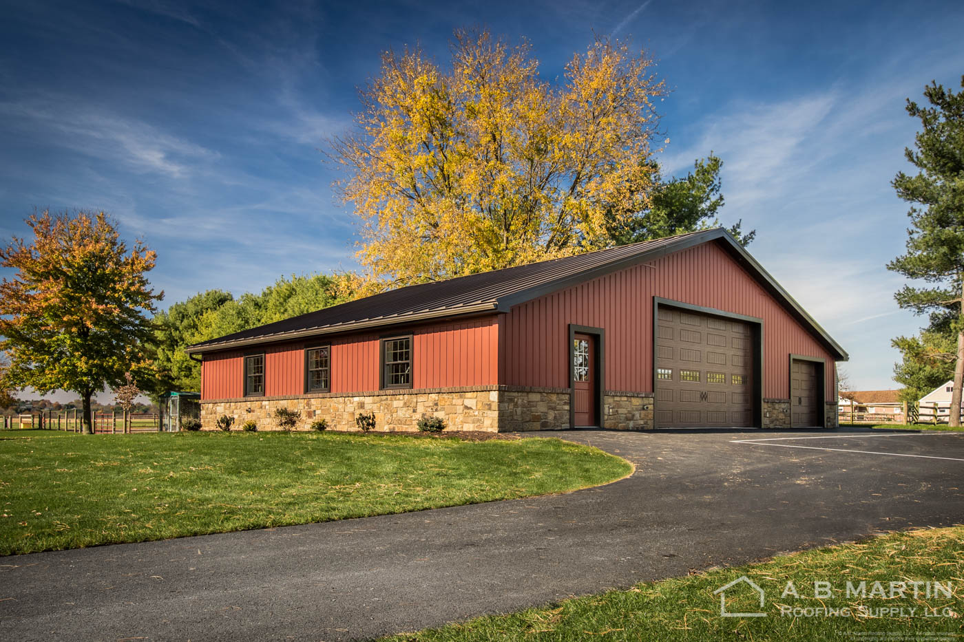 Video Stunning Garage With Carriage Red Celect Siding And Dark Bronze Metal Roof A