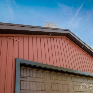Carriage Red Celect Siding on Small Garage