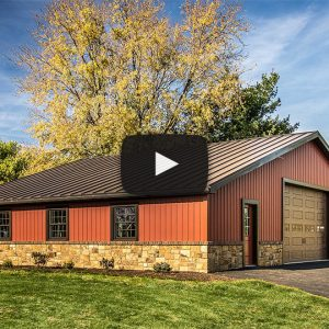 [Video] Stunning Garage with Carriage Red Celect Siding and Dark Bronze Metal Roof