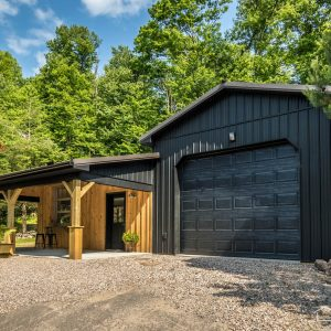 Unique Garage with Textured Black ABM Panel Sides