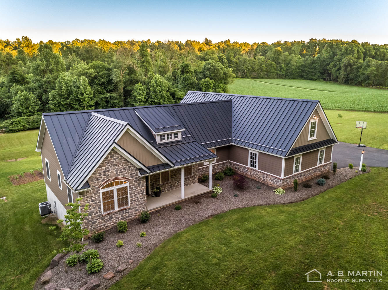 Drone shot of house with Textured Black ABSeam