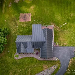 Drone Shot of Textured Metal Roof with ColorGard Snow Retention