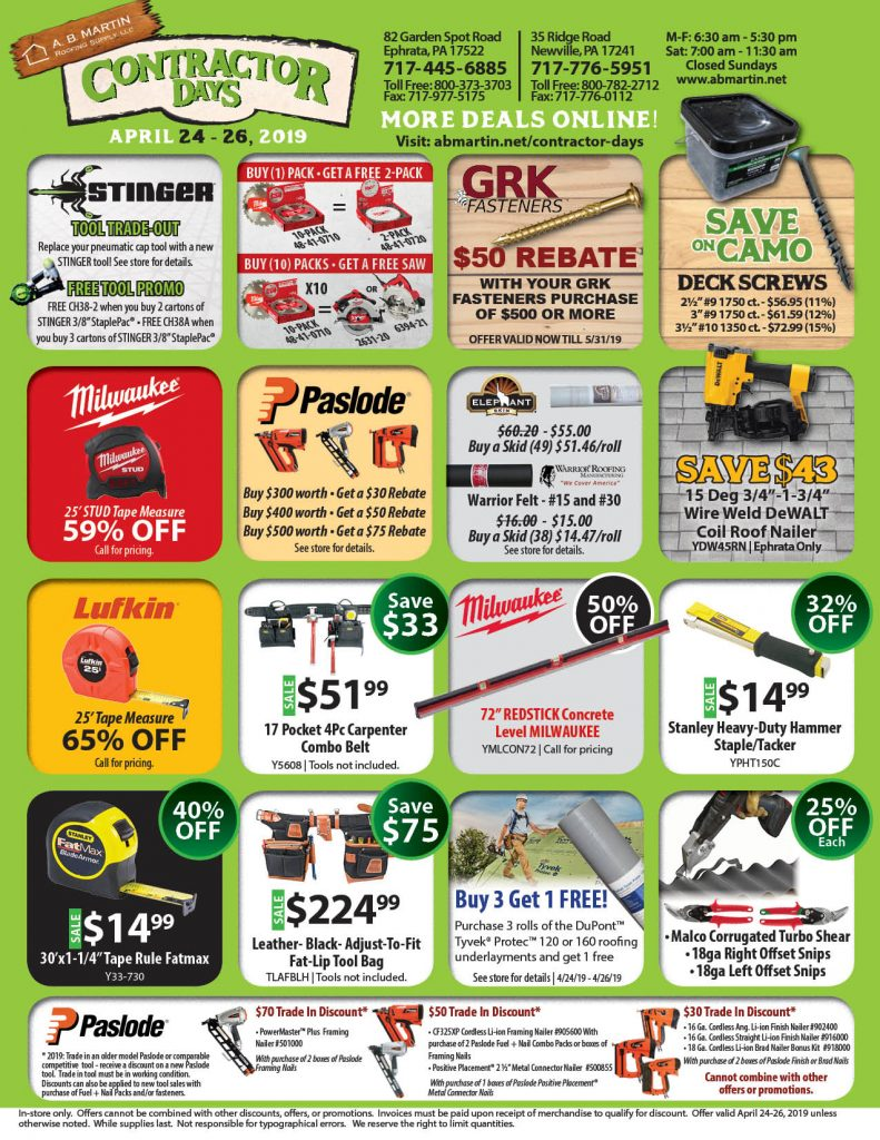 Contractor Days Deal